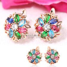 18K ROSE GOLD GF RAINBOW GEM FLOWER DIAMOND LADIES GIRL SOLID HOOP EARRINGS GIFT