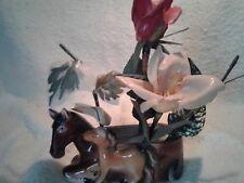 Vintage Horse & Colt Planter w/ Flowers Japan