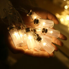 10 Mini Glass Jar LED Fairy Lights  Warm White Battery Box Retro Vase  8 Modes