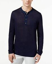 Tasso Elba Mens 100% Linen Marled Henley Sweater Blue Note Size Small