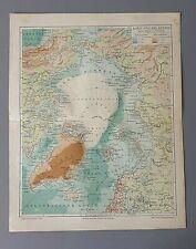 """schöne alte Chromolithographie """"Nord & Polarländer"""" - Meyer´s Landkarte 1895"""