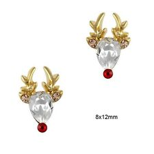5 x 3D Gold Alloy Rhinestone Reindeer Nail Art Decorations FREE P&P (C4)