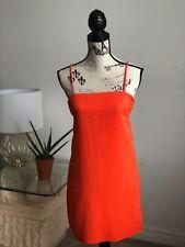 womens orange spaghetti srap dress, size small, loose fitting