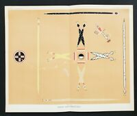 1885 Zuni Medicine God Lithograph Yei Bi Chei Snakes Directional Painting EXRARE
