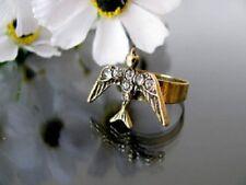 Ajustable estilo vintage cristal bronce pájaro charm tipo anillo
