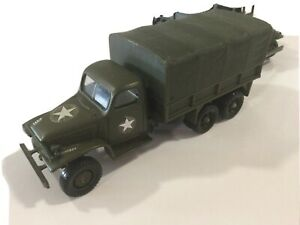 VINTAGE SOLIDO #? MILITARY GREEN ARMY GMC 150 CANVASED CARGO TRUCK 1:50 FRANCE