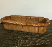 Handmade, Hand Painted Pottery Bread Basket, Made in Italy. [a-16]