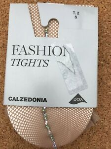 Calzedonia micro fishnet tights with crystal line, 2 (S), biscuit, brand new