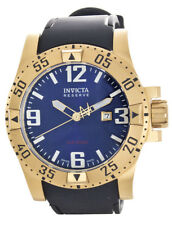 Invicta Reserve Men's Blue Dial Two-Tone Gold dial Black Rubber Band Watch 6254