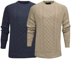 Mens Plain Jumper Cable Knit 100% Cotton Top Pullover Sweater Ex Store M - 2XL
