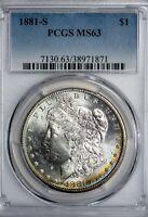 1881-S Morgan Silver Dollar PCGS MS63 Colorful Rim-Toned Silver Dollar!