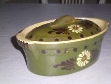 Vintage Yellow Ware Pottery Covered Dish Casserole Folk Art