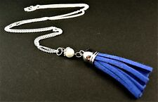 Faux Suede Tassel Necklace Pendant with a Glass Pearl Bead - Blue - # 889
