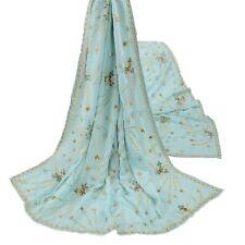 Sanskriti Vintage Blue Heavy Dupatta Pure Crepe Silk Hand Beaded Ethnic Stole