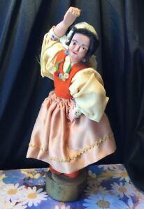 Vintage Bespoke folk art bisque musical gypsy Dancing  revolving wooden doll