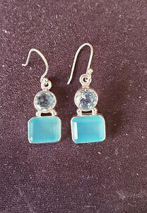 SUNDANCE CATALOG Sterling Silver Blue Chalcedony & Blue Topaz Earrings- NEW