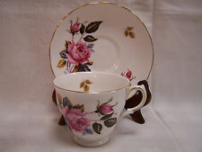Royal Vale Tea Cup and Saucer  ENGLAND Bone China Pink Roses Gold Trim