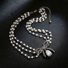 Collier Court Doré Multi Rang Art Deco Pavé Perle Blanc Noeud Papillon  OSC5