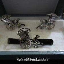 Vintage Chinese Export Silver Cufflinks and Tie Clip, Rickshaws, Boxed, c1975