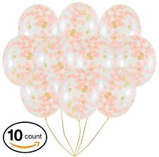"Rose Gold Confetti Balloons | 10 Pack Large 18"" Rose Gold Foil, Light Pink and 