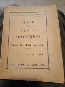 Baron d'Holbach Traité Des Trois Imposteurs Bibliothèque Du Libre Penseur  1932