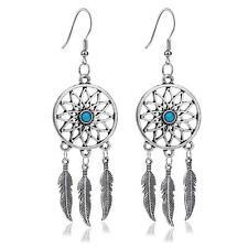 Silver Feathers Turquoise Dream Catcher Ear Stud Dangle Earrings Jewelry QAWZ