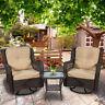 3pcs Outdoor Wicker Swivel Rocker Chairs Patio Furniture w/ Cushion & Side Table