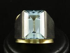 Aquamarin Ring ca. 17ct  34,2g 750/- Weißgold & Gelbgold mit großer Ringweite 65