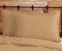 BURLAP NATURAL Standard Sham w/ Fringed Ruffle Tan/Khaki Farmhouse VHC Brands