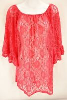 NEW MADELINE SPARKLESTEIN Pink All Lace 3/4 Flare Sleeve Blouse Women's Size L