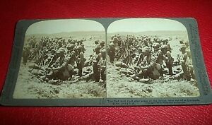 STERIOVIEW CARD c. 1900. ANGLO BOAR WAR. IMAGE OF THE SAD ROLL CALL AT DORDRECHT