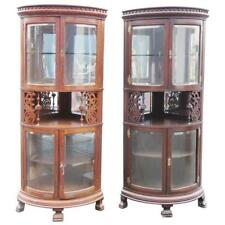 Rare Companion Pair of Oak Carved Corner Cabinets