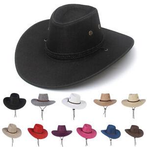 Women Men Sun Hat West Cowgirl Cowboy Hats Western Fedora Style Wide Brim Cap