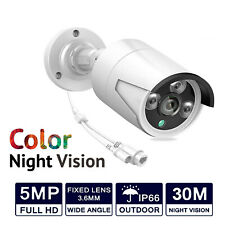 5MP HD POE IP Wired Network CCTV Camera Outdoor Bullet Color Night Vision WHITE