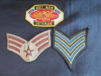VIETNAM VETERAN 1959-1975 Squadron Unit Patch & 2 Military Stripe Patches
