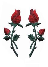 #5059 Lot 2Pcs Red Rose Embroidery Iron On Appliqué Patch / Pair