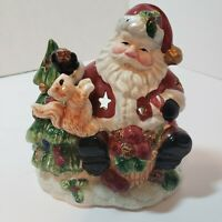 Santa Clause Feeding Squirrel Tree Votive Tealight Candle Holder Christmas