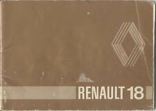 Renault 18 Saloon & Estate 1979-81 Original Handbook In English No 77 01 445 083