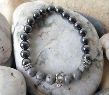 Men's Dragon Head, Jasper and Hematite Gemstone Bead Bracelet Ideal Gift for Dad