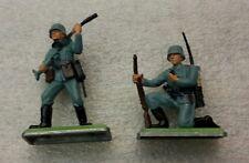 2 NEW Vintage BRITAINS DEETAIL German Infantryman  on Metal Base #7380b