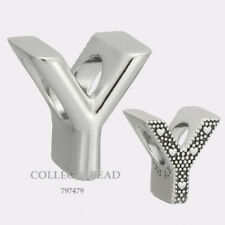 Authentic Pandora Sterling Silver Letter Y Bead 797479