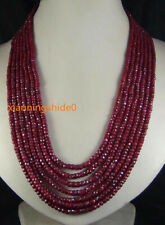 """2x4mm NATURAL RUBY FACETED BEADS NECKLACE 7 STRAND 17-23"""""""