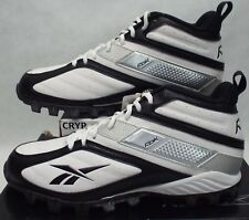 New Mens 13 REEBOK Workhorse Mid AT White Black Cleats Shoes $105 20-146808