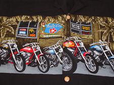 Paradise Found Hawaiian Aloha Shirt Sz M Black Tiki Tavern Bar Motorcycles Hula