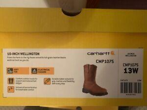 "Carhartt 10 Inch Wellington CMP1075 MENS Size 13""WIDE Work Boots Soft Toe NIB"