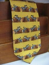 New Frontier Mens Silk Tie Gold Rodeo Bull & Bronc Riders Leaving the Chute 105