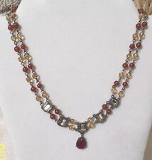 AVON CARNELIAN/ AMBER/ MIRRORED STONE NECKLACE AND BRACELET SET, VINTAGE LOOK