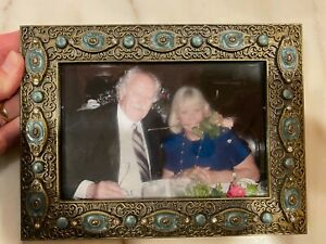 """Brass Metal w Blue Oval Crystals &Rhinestones Picture/Photo Frame 4"""" x 6"""" Ornate"""