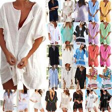 Plus Size Womens Summer Beach Dress Bikini Cover Up Swimsuit Swimwear Blouse Top