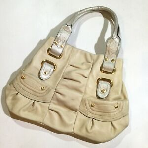 B. MAKOWSKY Large Womens Pebble Leather Tote Satchel Purse Bag Cream MSRP $298
